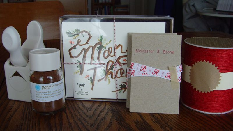 corner punch, flocking powder, thank you cards, brocade ribbon, red twine